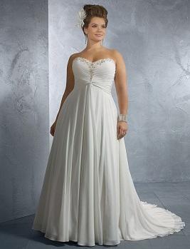 Весільна сукня на фото у стилі ампір, що добре личить повним жінкам